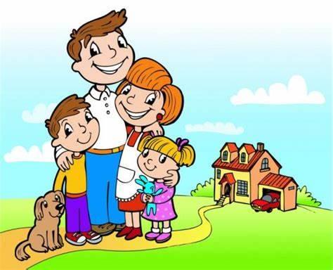 Grafika rodzina uśmiechnięta, domek